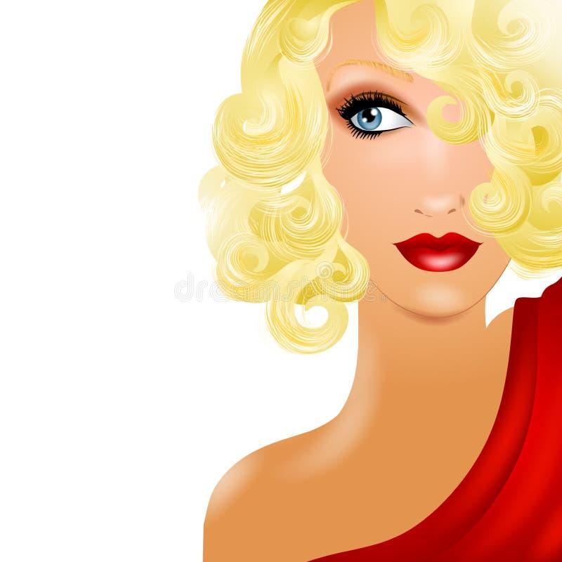 Het mooie Vrouwelijke Model Staren van de Blonde royalty-vrije illustratie