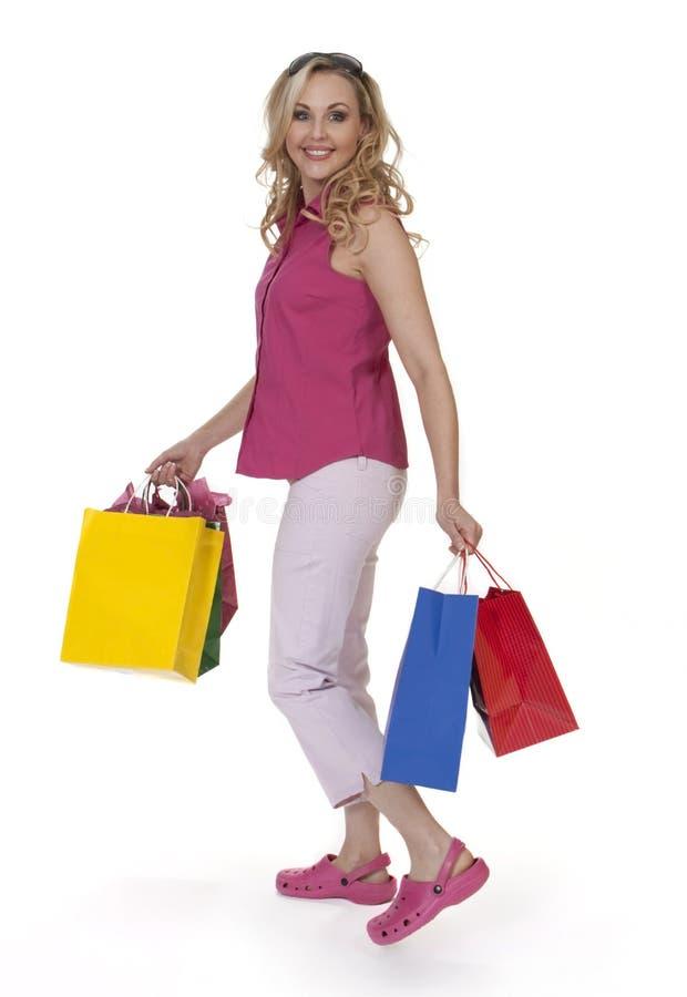 Het mooie Winkelen van de Vrouw stock afbeeldingen