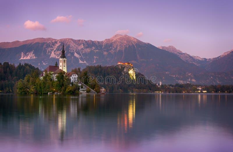Het mooie zonsopganglandschap van beroemd meer tapte in Slovenië met kleine kerk op groen eiland op purpere bewolkte hemel en ber royalty-vrije stock foto