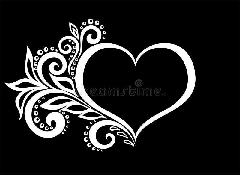 Het mooie zwart-wit zwart-witte silhouet van het hart van kant bloeit, geïsoleerde ranken en bladeren vector illustratie