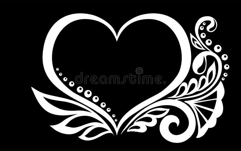 Het mooie zwart-wit zwart-witte silhouet van het hart van kant bloeit, geïsoleerde ranken en bladeren stock illustratie