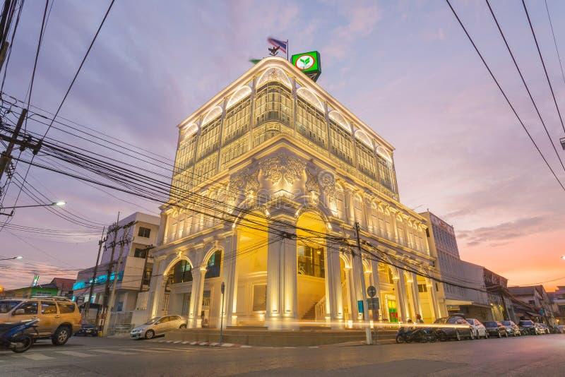 Het mooiste Kasikorn-Bankgebouw met het Chinees-Portugese ontwerp van de architectuurstijl in Thailand, begin werkt op 12 Januari stock afbeelding