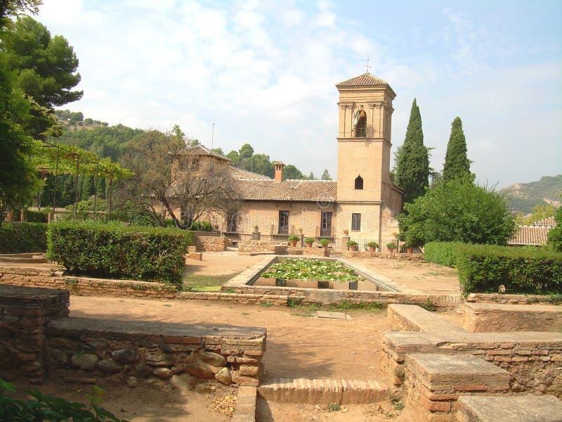 Het Moorse Terras van Spanje Alahambra stock fotografie