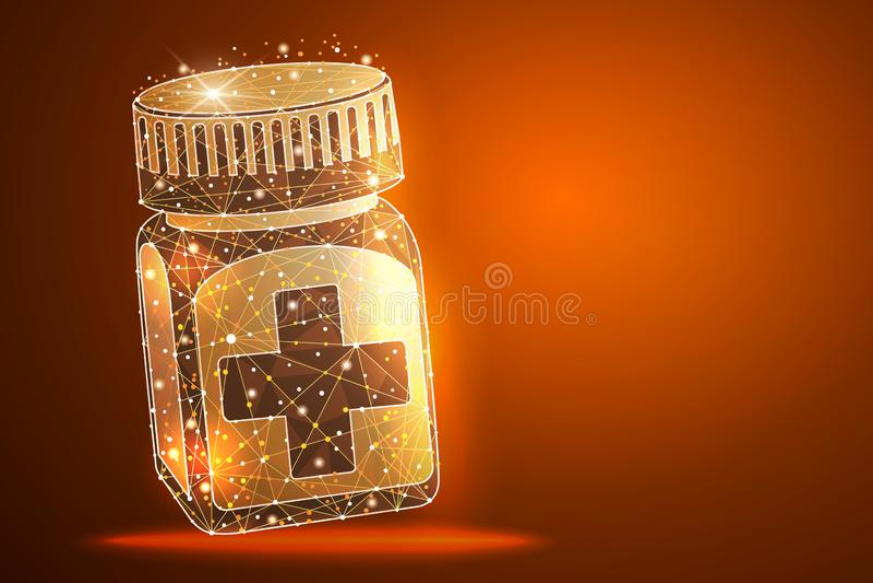 Het morsen van pillen op oppervlakte Medische capsulescontainer Isometrische Vectorillustratie vector illustratie