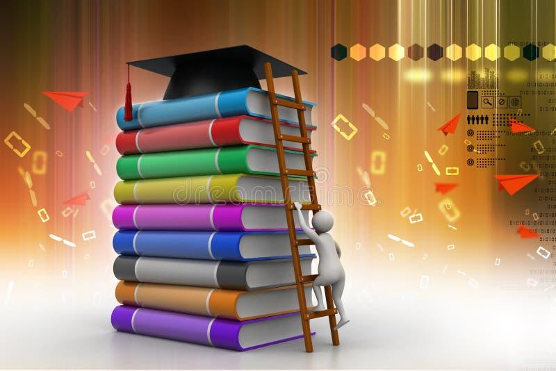 Het mortier van de graduatie bovenop boeken vector illustratie