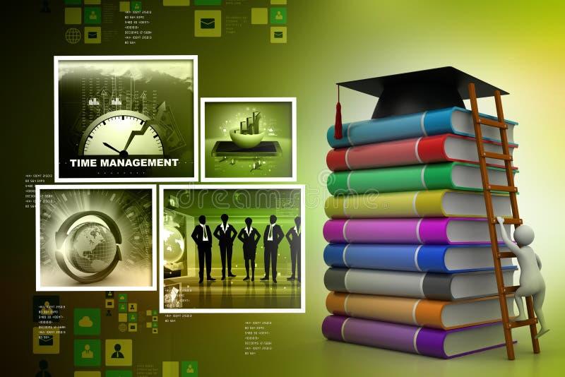 Het mortier van de graduatie bovenop boeken royalty-vrije illustratie