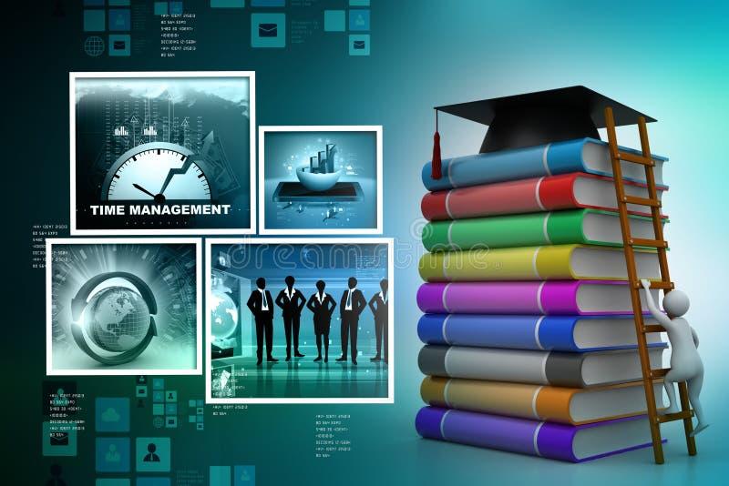Het mortier van de graduatie bovenop boeken stock illustratie