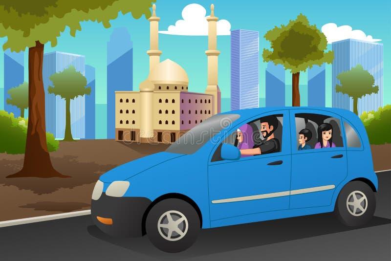 Het moslimfamilie Drijven in een Autoillustratie royalty-vrije illustratie