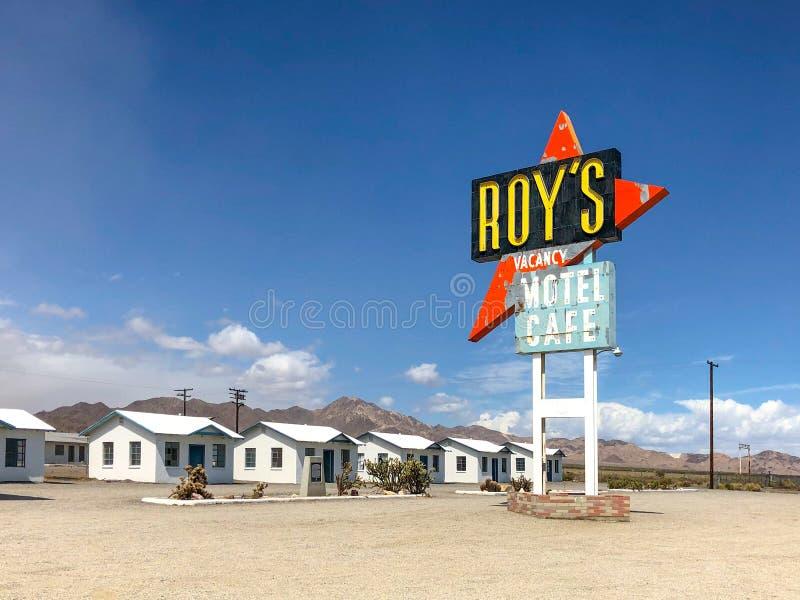Het Motel en de Koffie van legendarische Roy in Amboy, Californië, de V.S. stock foto