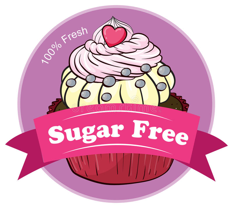 Het mouthwatering cupcake met een suiker vrij etiket royalty-vrije illustratie