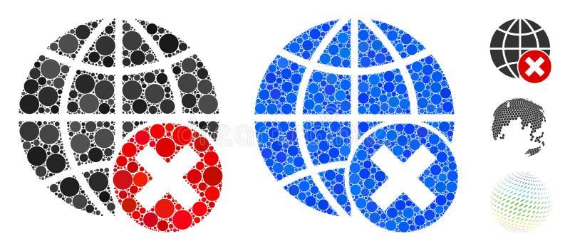 Het mozaïekpictogram van de Globalisering van de opheffing van Spheric Items stock illustratie
