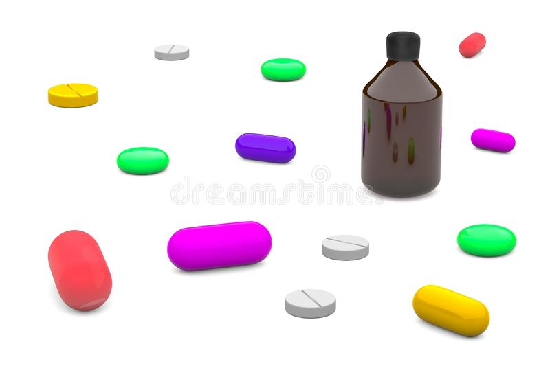 Het Multi-colored tabletten 3d teruggeven vector illustratie