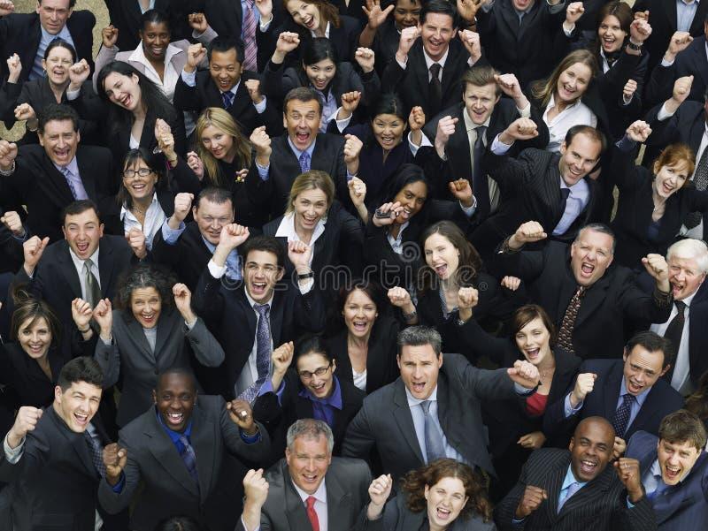Het multi-etnische Commerciële Groep Toejuichen royalty-vrije stock foto