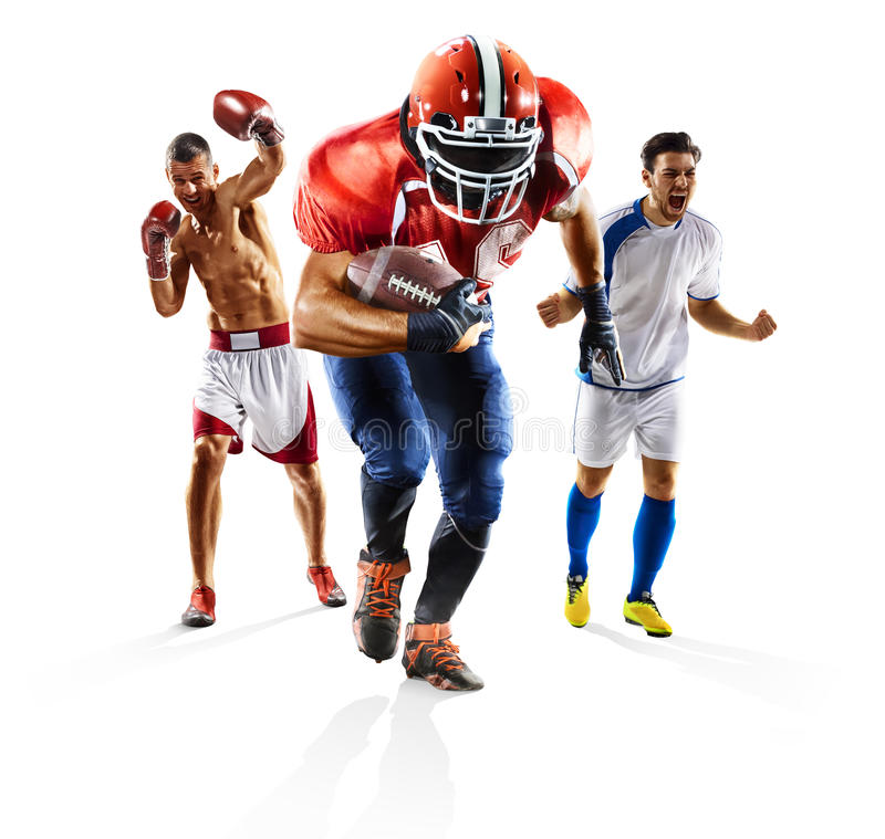 Het multi het voetbal Amerikaanse voetbal van de sportcollage in dozen doen royalty-vrije stock foto