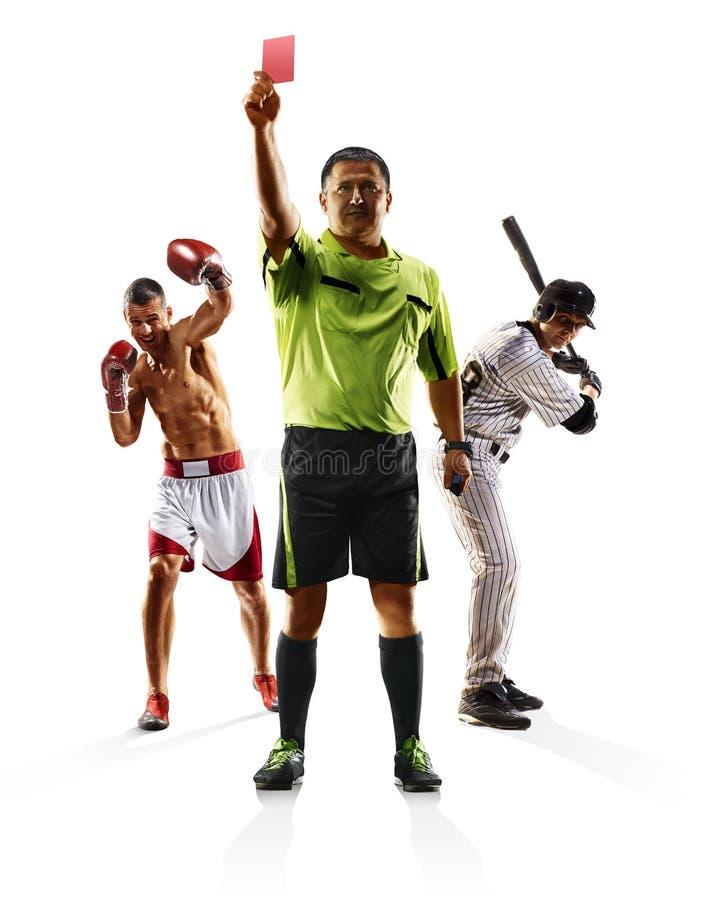 Het multi het voetbalhonkbal van de sportcollage in dozen doen stock foto