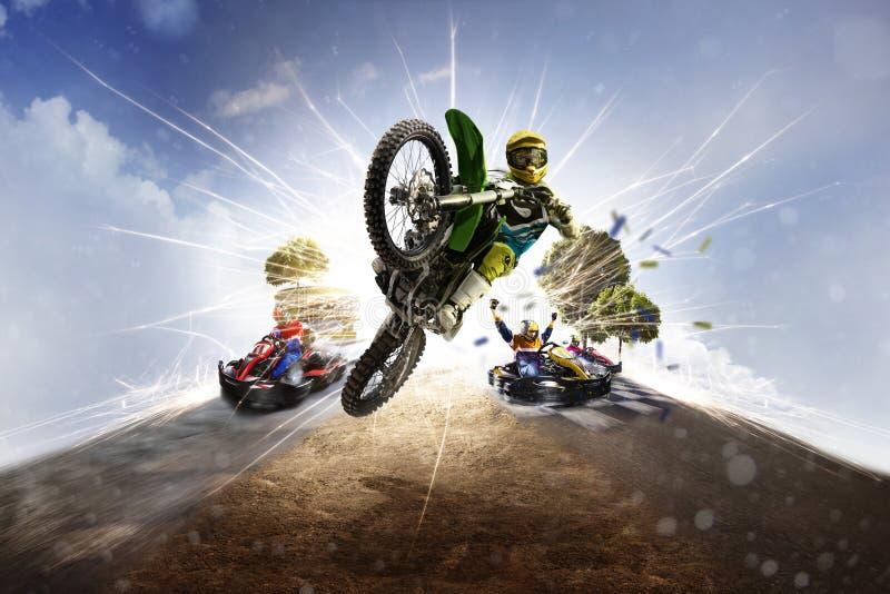 Het multi het vuilfiets van de sporten motorsport collage karting royalty-vrije stock foto