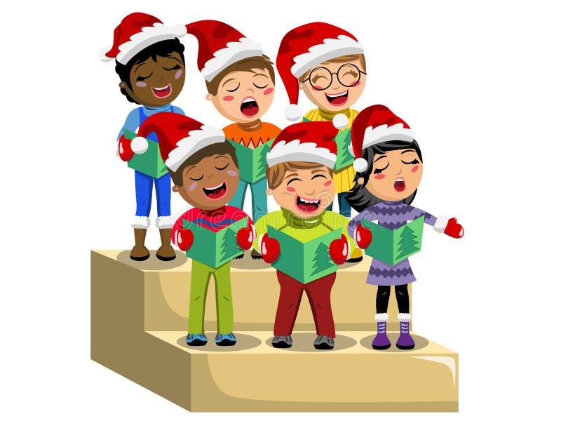 Het multiculturele van de hoeden zingende Kerstmis van jonge geitjeskerstmis geïsoleerde stootbord van het de hymnekoor stock illustratie