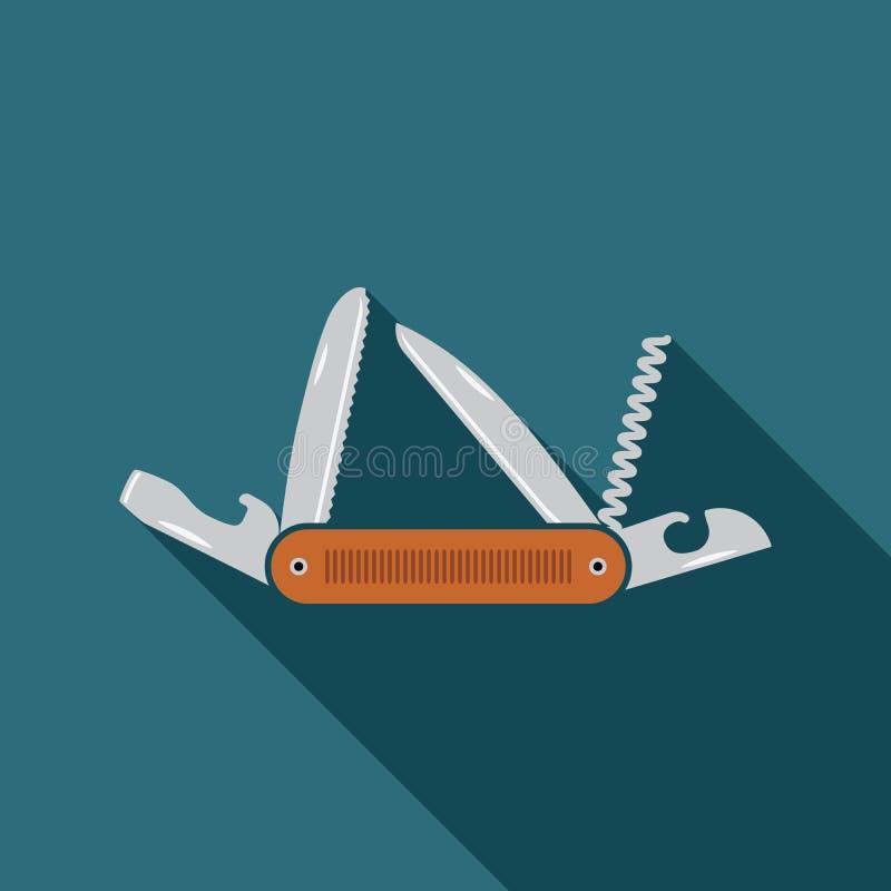 Het multifunctionele pictogram van het zakmes Vlak ontwerp van wandeling en het kamperen materiaalhulpmiddel, vectorillustratie m stock illustratie