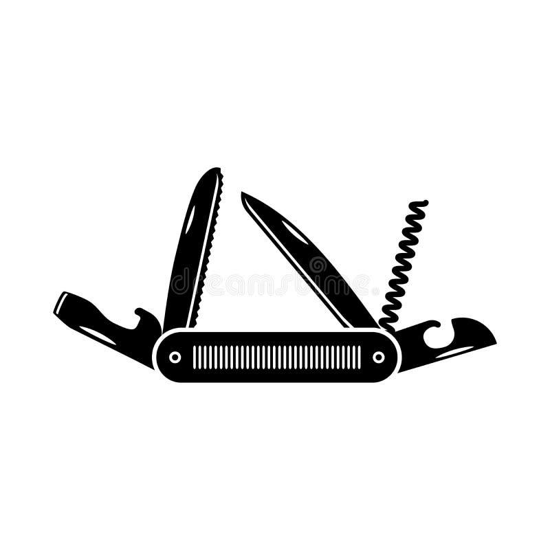 Het multifunctionele pictogram van het zakmes Wandeling en het kamperen materiaalhulpmiddel, vectordieillustratie op wit wordt ge vector illustratie
