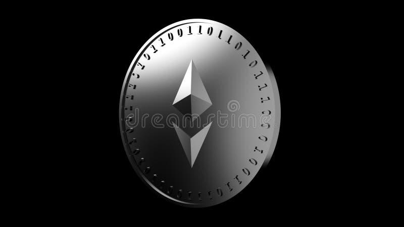 Het muntstuk met het symbool van de digitale crypto munt Ethereum en binaire code, isoleert op een zwarte achtergrond, het 3D ter royalty-vrije illustratie