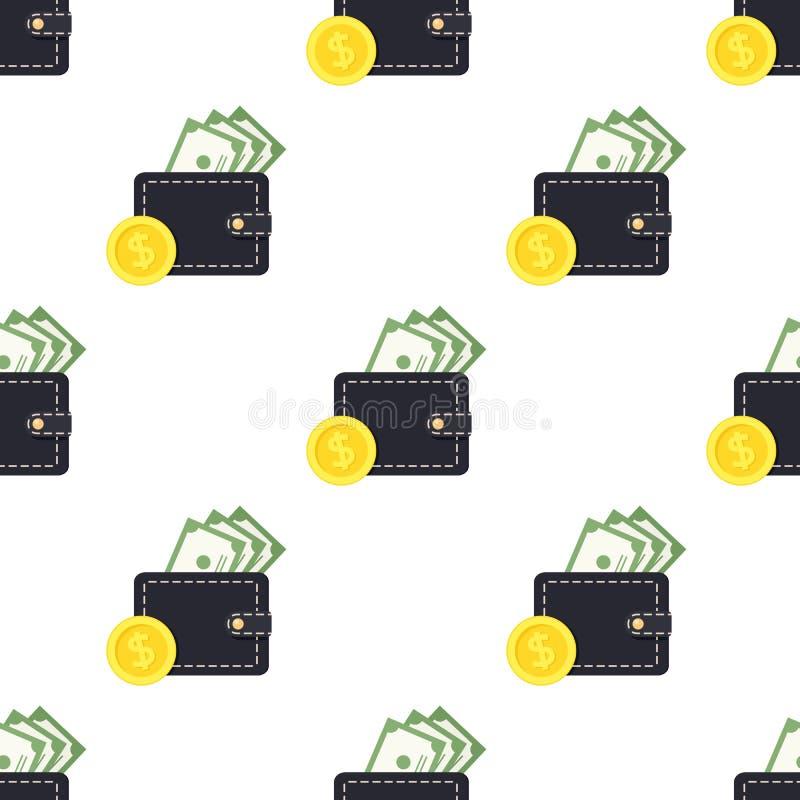 Het Muntstuk Naadloos Patroon van portefeuillebankbiljetten royalty-vrije illustratie