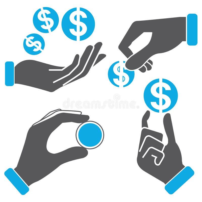 Het muntstuk van de handholding royalty-vrije illustratie