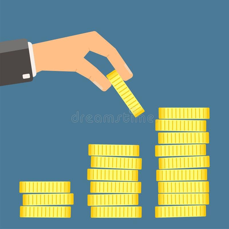 Het muntstuk van de handholding en bouwt muntstukgrafiek royalty-vrije illustratie