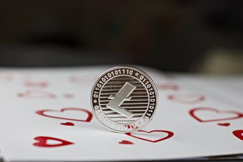 Het muntstuk van de Litecoinliefde stock afbeelding
