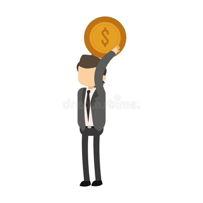 Het muntstuk van de zakenmanholding royalty-vrije illustratie