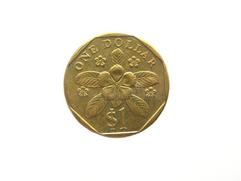 het muntstuk van 1 dollarsingapore stock afbeelding