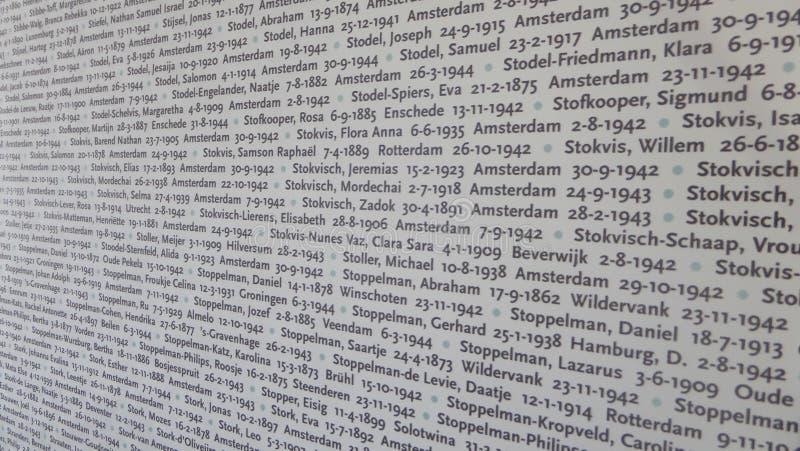 Het Museum van het Auschwitzconcentratiekamp - Muur met de namen van de slachtoffers Op 7 Juli, 2015 royalty-vrije stock foto