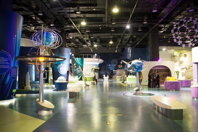 Het museum van Azië China, van Peking, van de wetenschap en van de technologie, binnententoonstellingszaal, stock foto