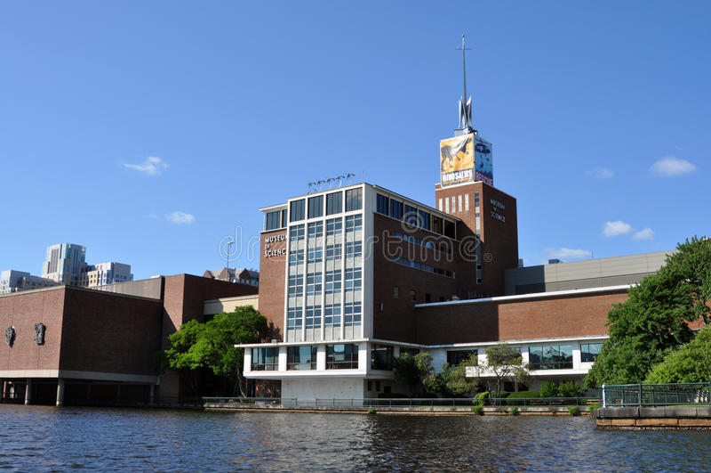 Het Museum van Boston van Wetenschap van de rivier van Charles stock afbeeldingen