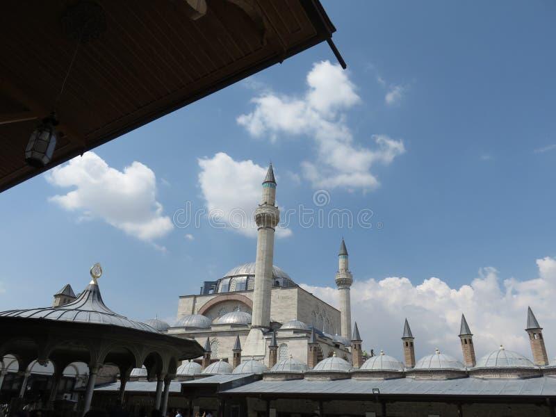 Het museum van de Mevlanamoskee en graf, Konya, Turkije royalty-vrije stock afbeeldingen