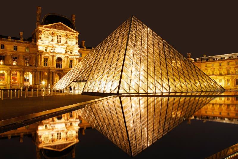 Het Museum van het Louvre bij nacht royalty-vrije stock afbeeldingen