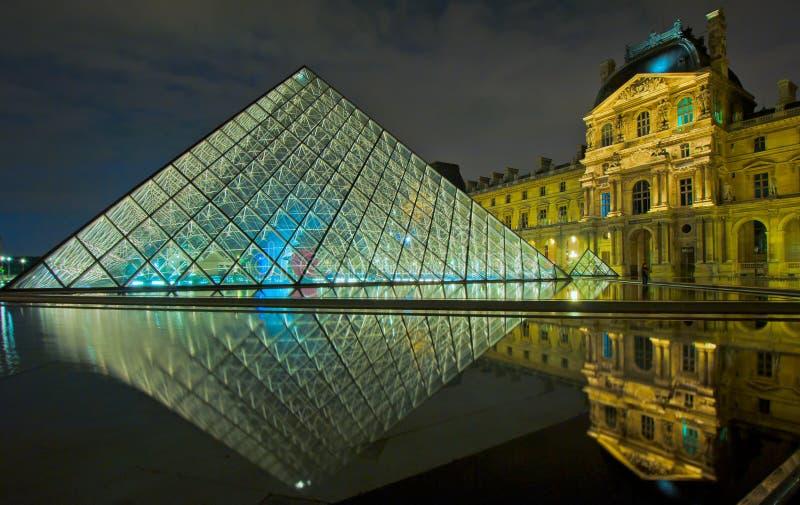 Het Museum van het Louvre bij nacht, Parijs royalty-vrije stock foto's