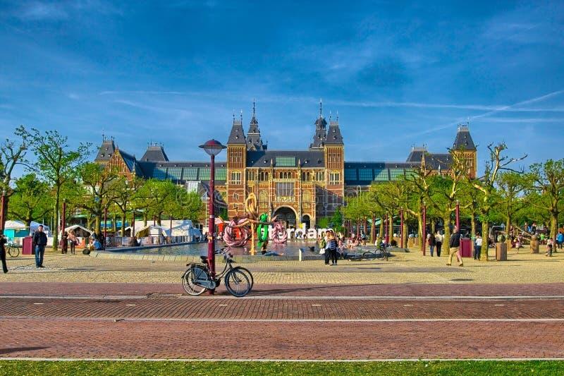 Het museum van Rijksmuseumamsterdam met woorden I Amsterdam in Holland, stock foto's