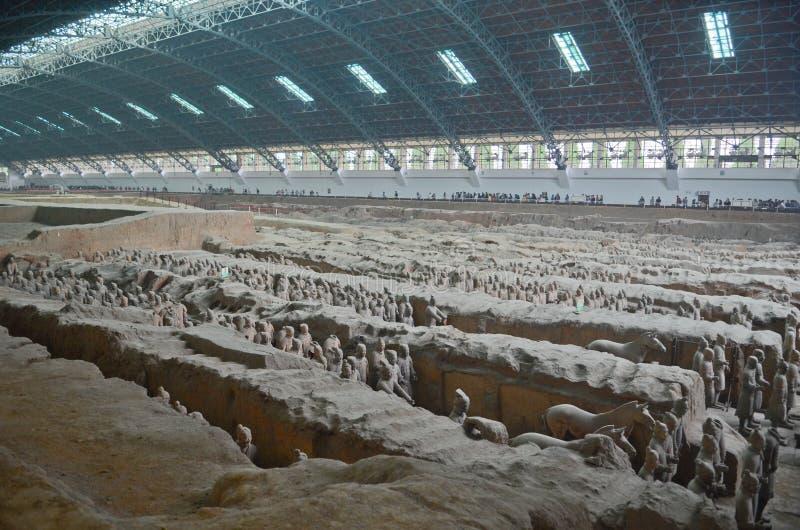 Het museum van terracottastrijders in Xian stock foto