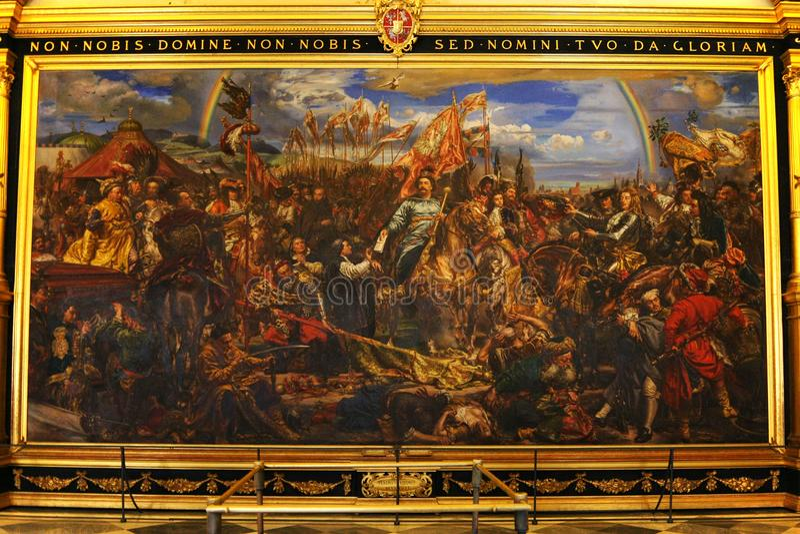 Het museum van Vatikaan Het schilderen van koning Jan Sobieski in Wenen tijdens oorlog met Turken Het schilderen door Jan Matejko stock afbeelding