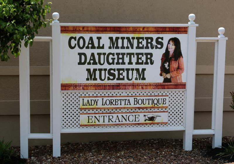 Het Museum Welkom Teken van de Mijnwerkersdochter, Orkaan Mills Tennessee stock afbeelding