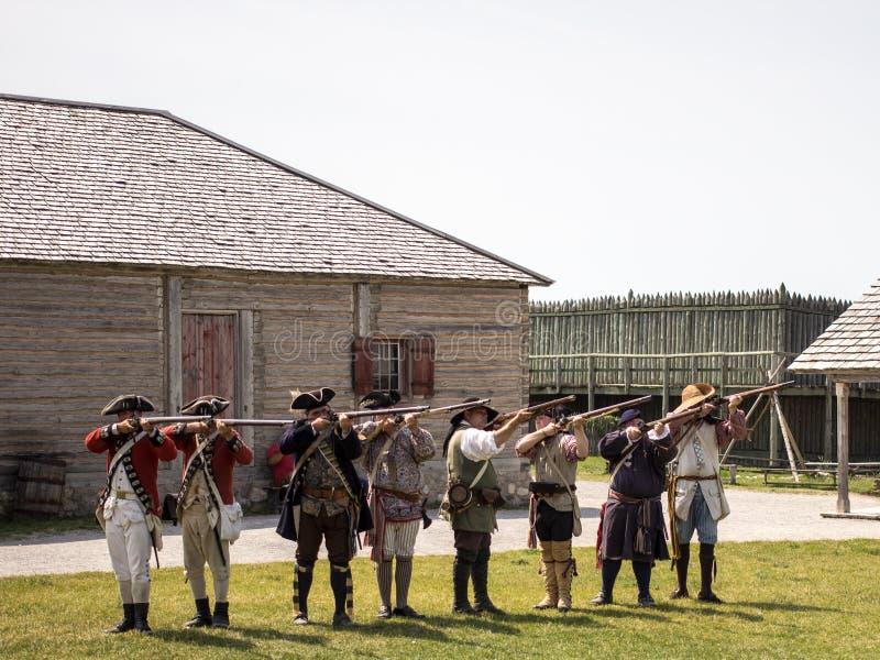 Het Musket Demonostration van fortmichilimackinaw royalty-vrije stock afbeelding