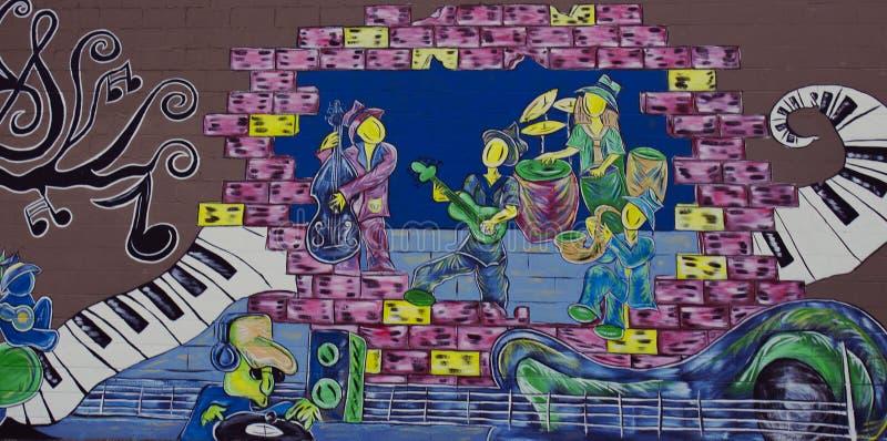 Het muzikale Band en van DJ Muurschildering Schilderen royalty-vrije stock foto's