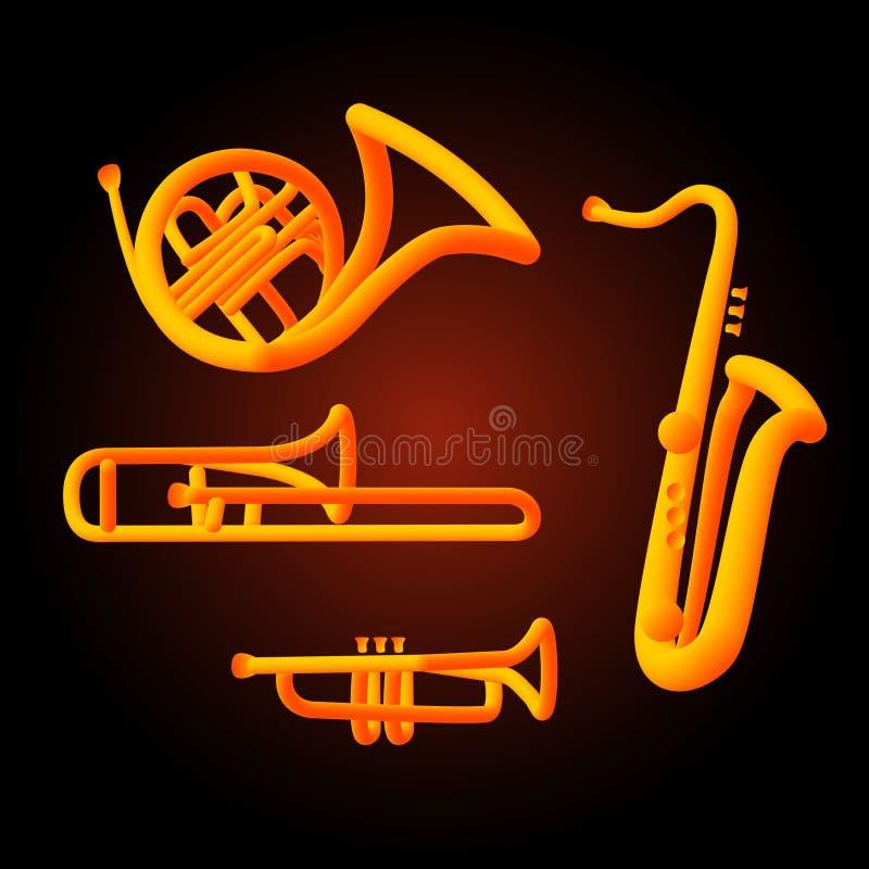 Het muzikale de instrumentenneon van het windmessing tubed stock illustratie