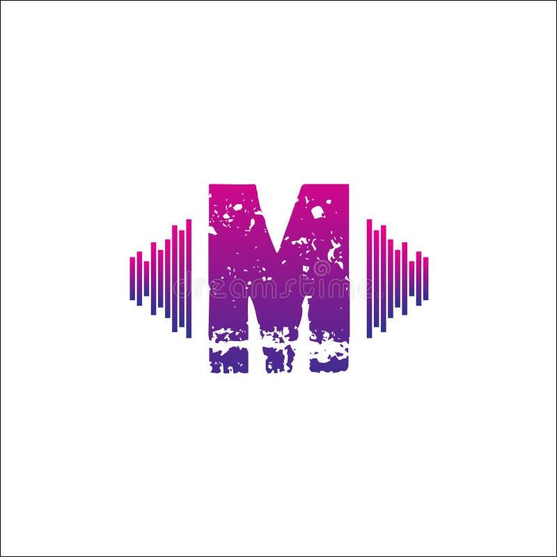 Het muzikale vectormalplaatje van het initialenembleem M vector illustratie