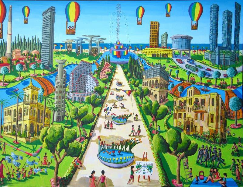 Het naïeve schilderen van Tel Aviv stad stock illustratie