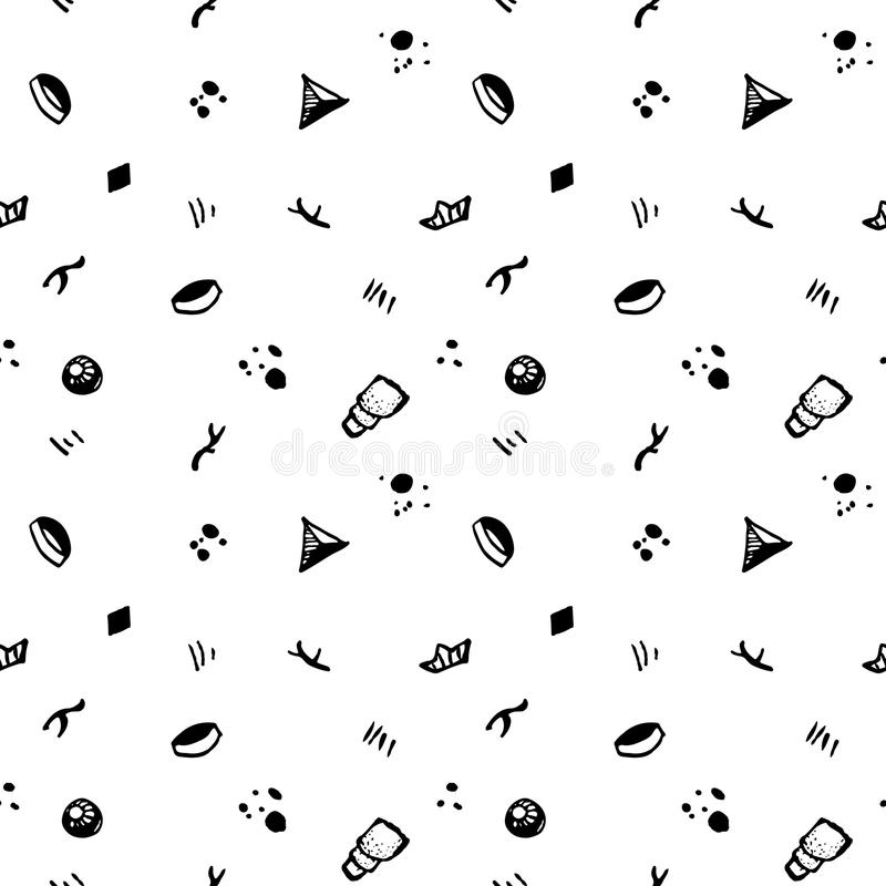 Het naadloze abstracte patroon van de Hipsterinkt Uitstekende en retro stijl vector illustratie