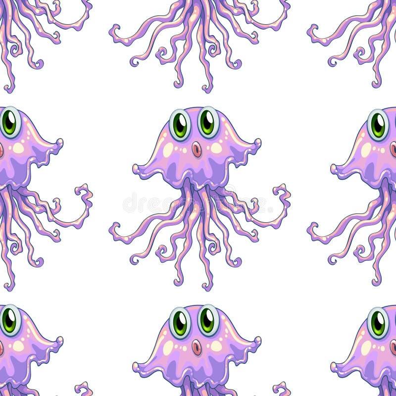 Het naadloze beeldverhaal van de patroontegel met kwallen royalty-vrije illustratie