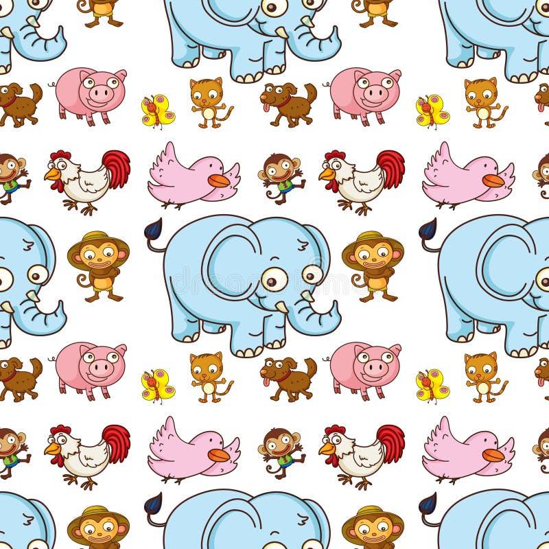 Het naadloze beeldverhaal van de patroontegel met olifant, varken, kip en aap royalty-vrije illustratie