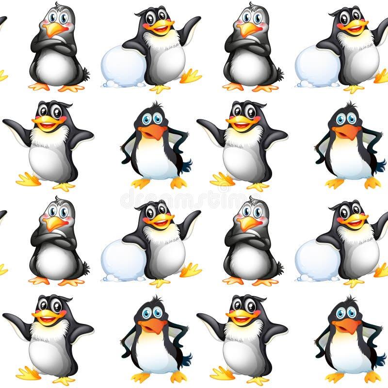 Het naadloze beeldverhaal van de patroontegel met pinguïnen royalty-vrije illustratie