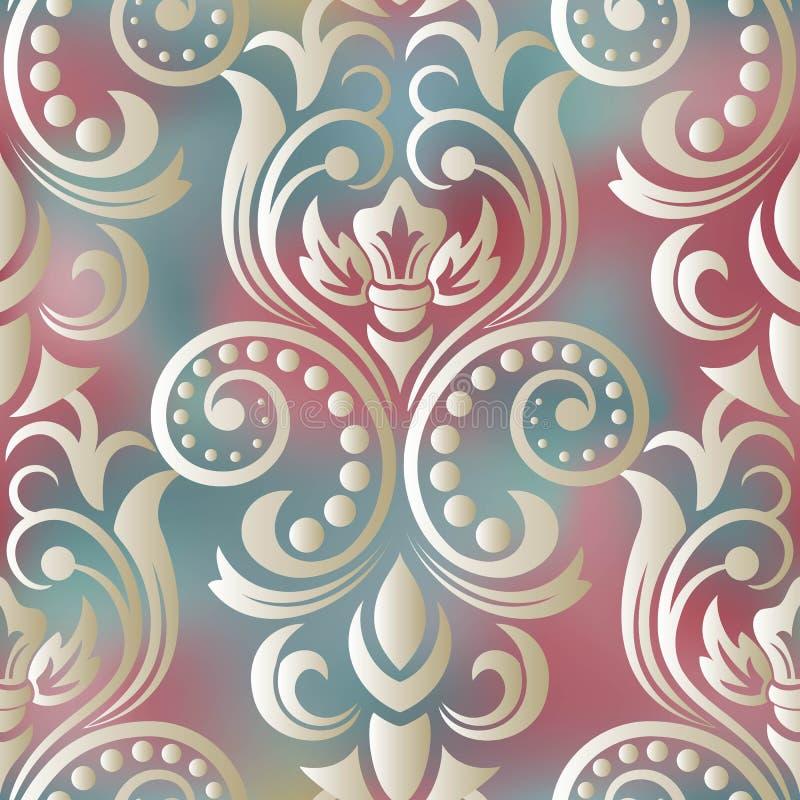 Het naadloze Behang van het Damast Naadloos oosters patroon Klassieke uitstekende achtergrond vector illustratie